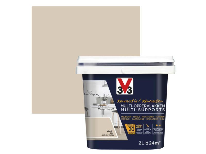 V33 renovatieverf multi-oppervlak zijdeglans 2l vlas