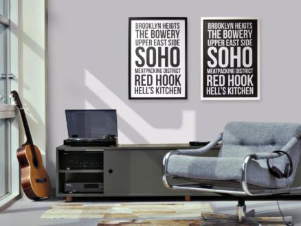 Art for the Home reproduction encadrée 50x70 cm New York noir/blanc