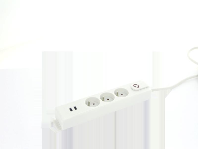 Profile stekkerdoos 3x + 2x USB met schakelaar en kabel 1,5m wit