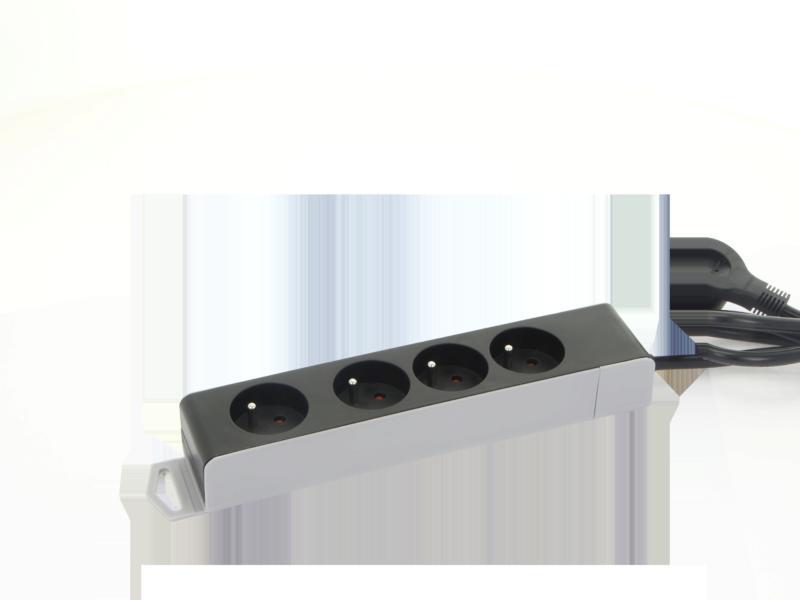 Profile stekkerdoos 4x met kabel 3m zwart
