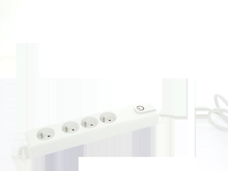 Profile stekkerdoos 4x met schakelaar en kabel 5m wit