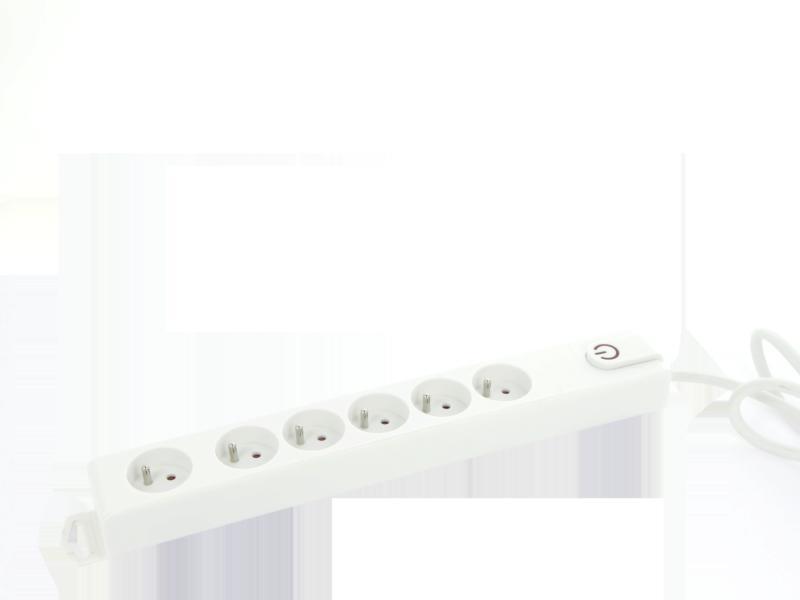 Profile stekkerdoos 6x met schakelaar en kabel 1,5m wit