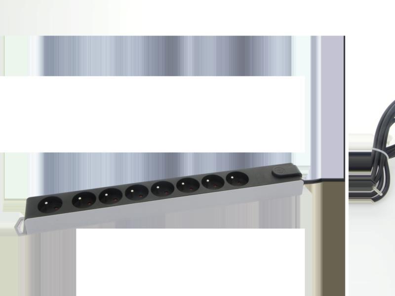 Profile stekkerdoos met overspanningsbeveiliging 8x met schakelaar en kabel 3m zwart