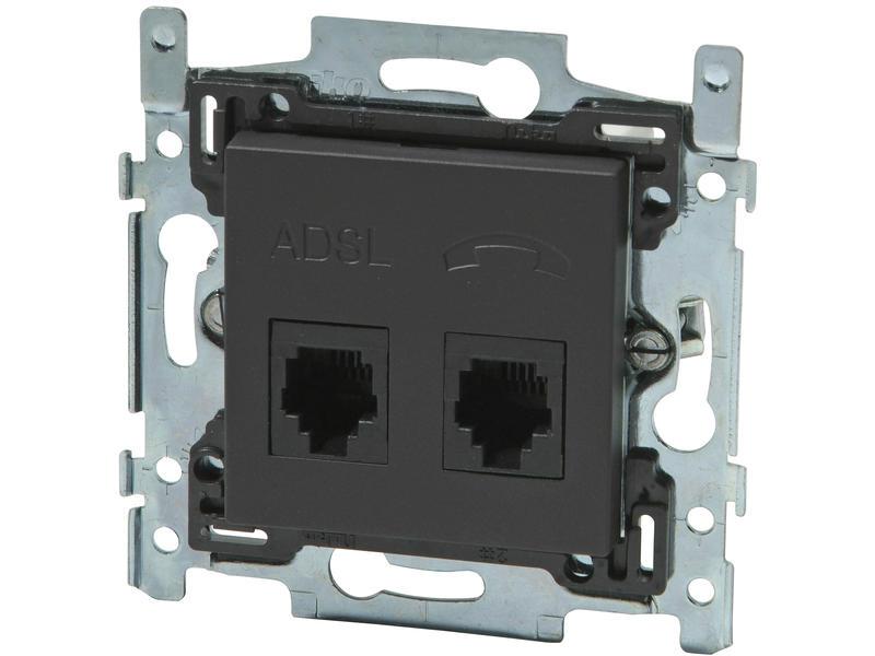 Niko stopcontact ADSL + TEL Intense anthracite
