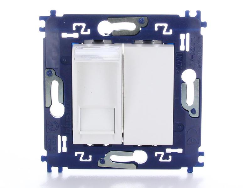 Bticino stopcontact RJ45 met blinde toets en schroeven wit