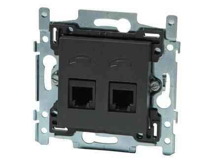 Niko stopcontact TEL 2x RJ11 Intense anthracite