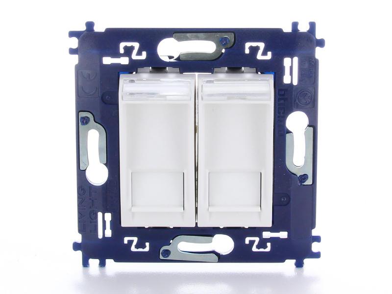 Bticino stopcontact dubbel RJ45 6 UTP met schroeven wit