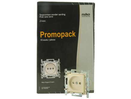 Niko stopcontacten zonder penaarde 21mm Original Cream ecopack (10stuks)