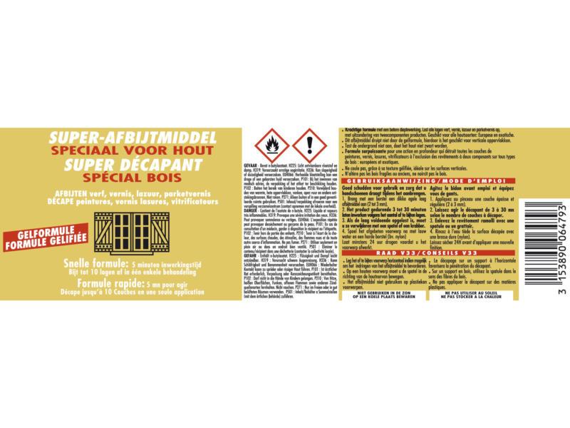 V33 superafbijtmiddel speciaal hout 0,5l