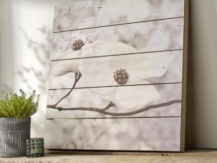 Art for the Home tableau imprimé sur bois 60x60 cm fleurs blanc/gris