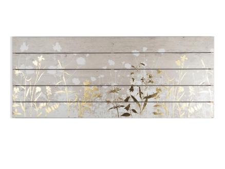 Art for the Home tableau panoramique imprimé sur bois 100x40 cm botanique blanc/or