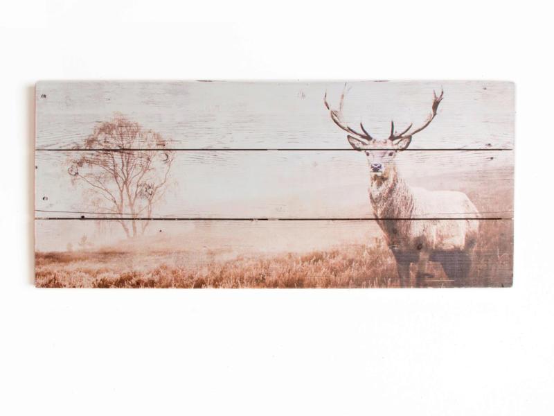 Art for the Home tableau panoramique imprimé sur bois 70x30 cm cerf