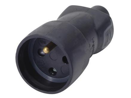 Legrand tegenstekker IP44 2,5A rubber zwart