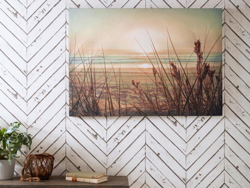 Art for the Home toile imprimée 100x70 cm coucher du soleil sur la plage
