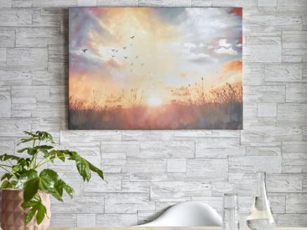 Art for the Home toile imprimée 100x70 cm coucher du soleil sur la prairie