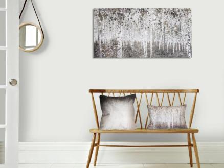 Art for the Home toile imprimée 120x60 cm forêt aquarelle gris