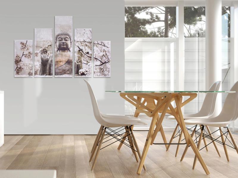 Art for the Home toile imprimée 150x100 cm boeddha carpe diem 5 panneaux