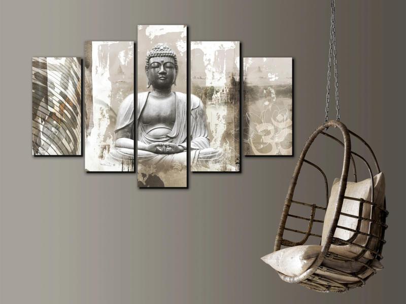 Art for the Home toile imprimée 150x100 cm bouddha 5 panneaux