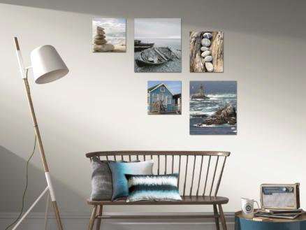 Art for the Home toile imprimée 60x80 cm bord de mer bleu 5 panneaux