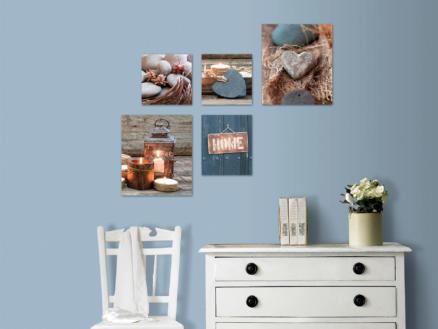 Art for the Home toile imprimée 60x80 cm home bleu/gris 5 panneaux