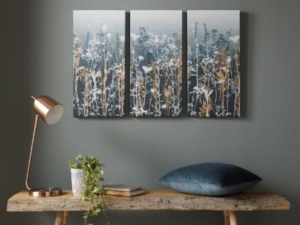 Art for the Home toile imprimée 90x60 cm fleurs bleu 3 panneaux