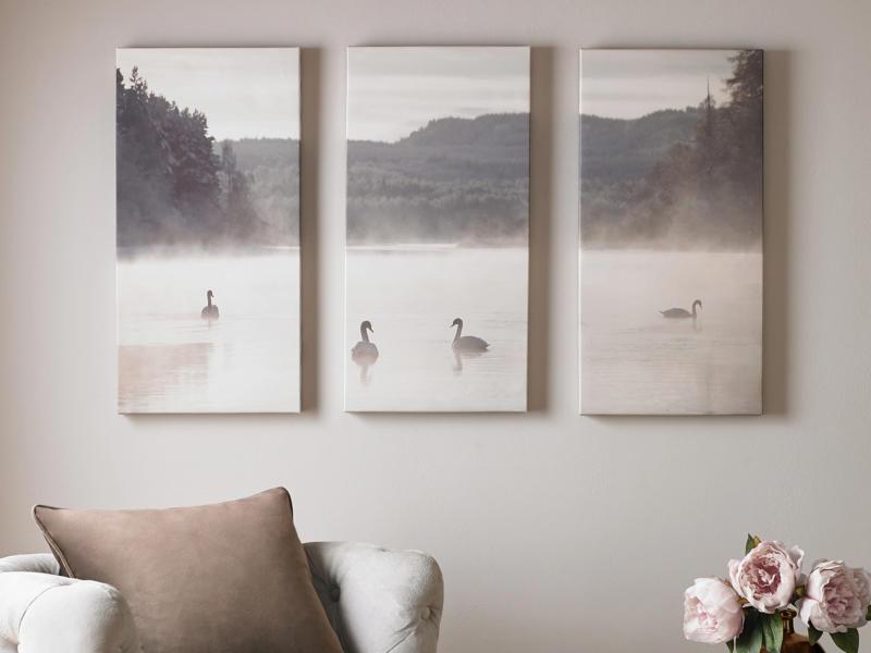 Art for the Home toile imprimée 90x60 cm lac de cygnes 3 panneaux