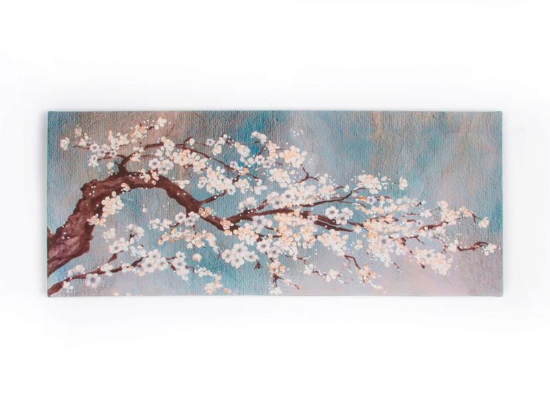Art for the Home toile panoramique 100x40 cm branche orchidée bleu