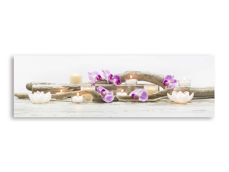Art for the Home toile panoramique LED 140x45 cm orchidée violet