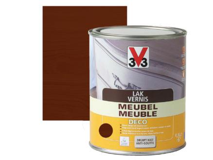 V33 vernis / lak meubel deco zijdeglans 0,5l donkere eik