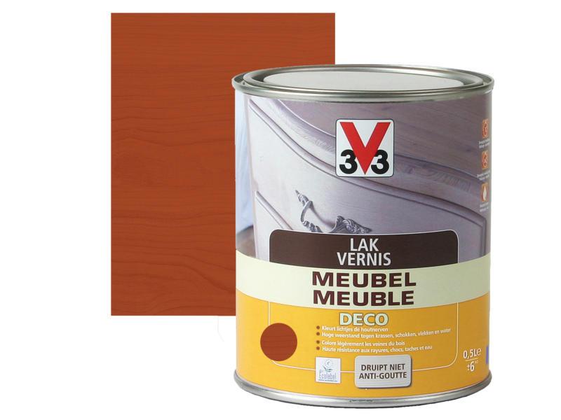 V33 vernis / laque meuble deco satin 0,5l acajou