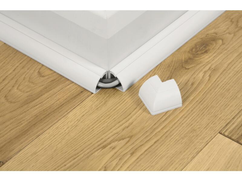 vloerlijst 22x22 mm 1m wit + accessoires