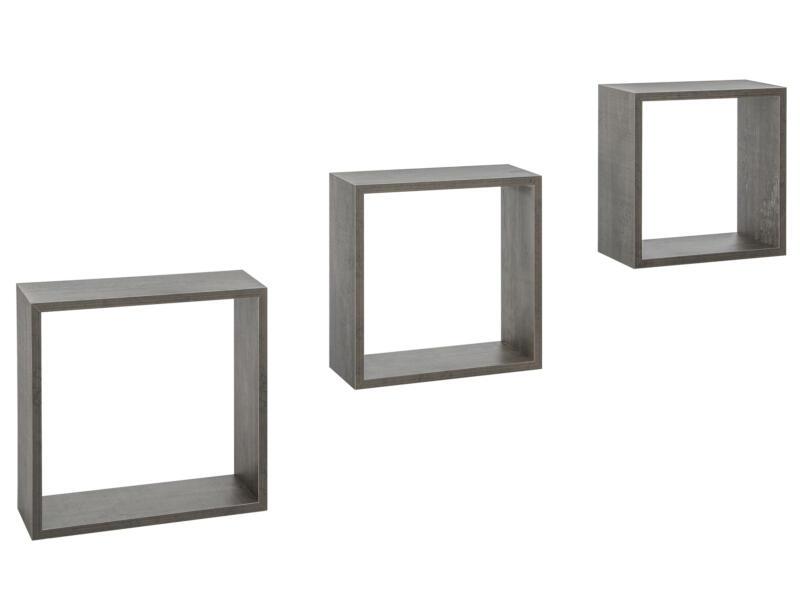 Practo Home wandrek kubus 30cm zwarte eik 3 stuks